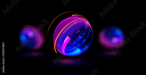 In de dag Macrofotografie 3D Atom icon. Nuclear model on dark background. Glowing bots structure. Physics electrons concept. Ray ring ball. Micro model proton. Glow core. Light cell. Magic orb. Bright circle. Optical flare.