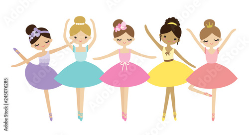 Photo Vector illustration of cute dancing little ballerinas