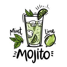 Cocktail Mojito Hand Drawn Vec...