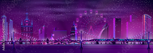 Cadres-photo bureau Violet Metropolis night landscape neon color cartoon vector panoramic urban background. Illuminated skyscrapers buildings, Ferris wheel, subway train on bridge in foggy and snowy winter weather illustration