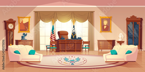 Photo Vector oval cabinet in the white house