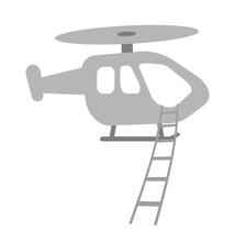 縄ばしごを垂らすヘリ...