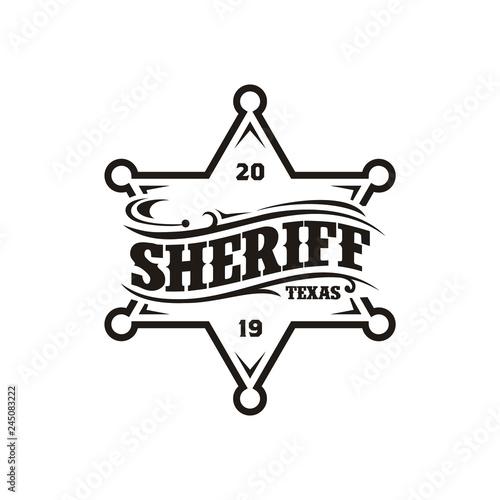 Fotografía  Vintage Retro Sheriff Badge Emblem Typography logo design