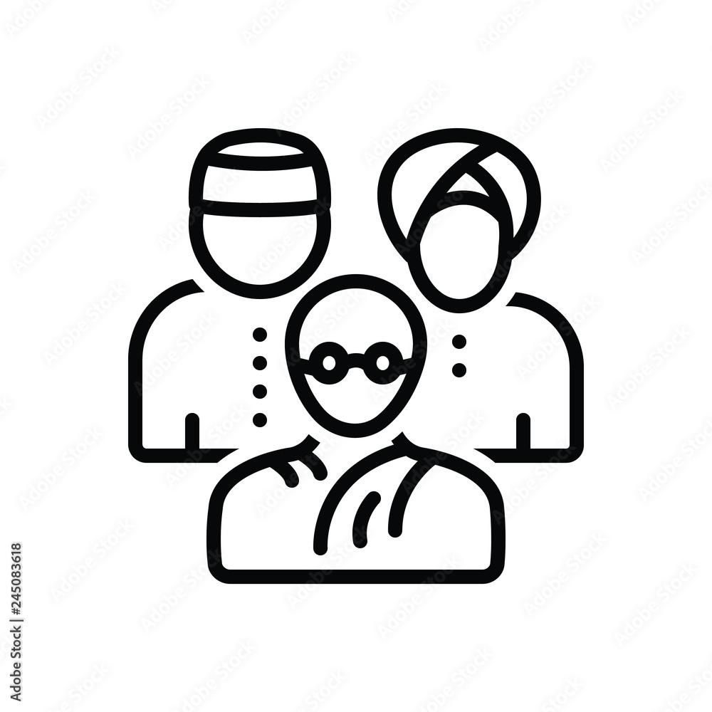 Fototapeta Black line icon for multicultural