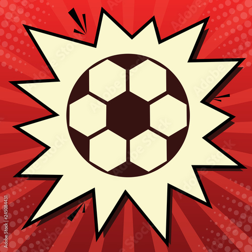 Soccer ball sign. Vector. Dark red icon in lemon chiffon shutter bubble at red popart background with rays. Illustration.