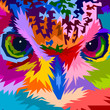 close up of face colorful owl