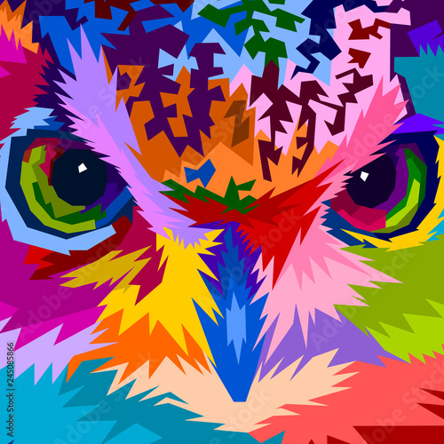 close up of face colorful owl фототапет