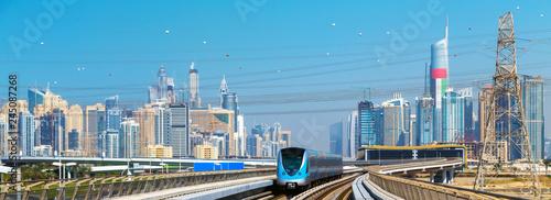 Fototapeta Dubai skyline Lines Metro train