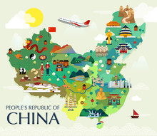 Map Of China Attractions Vecto...