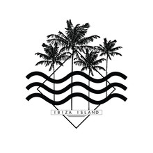 Palm Tree, Summer Graphic With...
