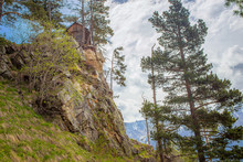 Mountain Hut Stands On A Rock ...
