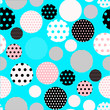 dots circles seamless tile in blue pink shades