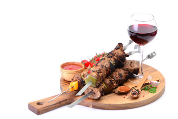 Traditional Georgian drink wine and kebab