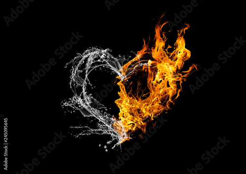 Fototapeta  Fire and Water Collaboration Heart