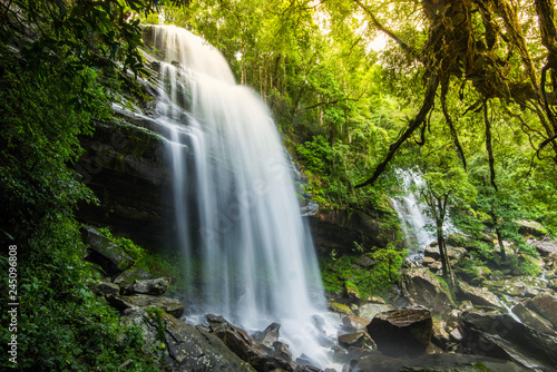 Staande foto Watervallen Jungle beautiful waterfall Mountain river stream - Landscape waterfall front of the cave green forest nature