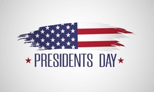 Happy Presidents Day Background With USA Flag. American National Holiday. Patriotic Illustration