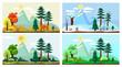 Four season landscape. Spring autumn summer winter weather nature scenery vector cartoon background. Winter and summer, spring and autumn illustration