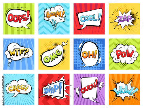 Comic sounds. Cartoon explode stripped burst frames and speech bubbles with words boom vector retro template. Illustration of bubble speech expression