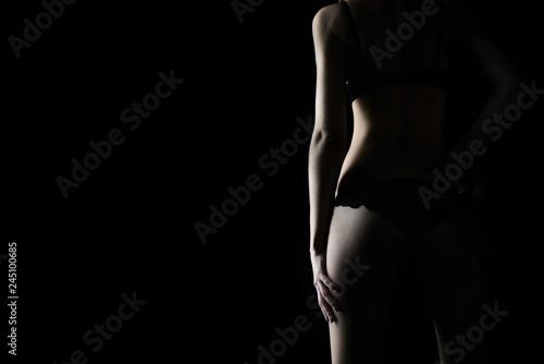 Fototapeta silhouette of young, sporty and sexy woman in lingerie obraz na płótnie
