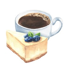Hand Drawn Watercolor Cheesecake With Blueberries And Cup Of Black Coffee Isolated On White Background. Dessert Illustration.