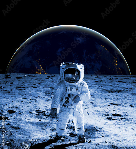 astronaut walk on the moon wear cosmosuit. future concept - 245102003