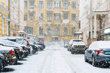 Parked Cars Covered With Snow In The City Neighbourhood  Cityscape F