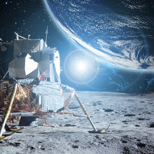 View To Planet Earth From Moon Surface B. Elements Of This Image Furnished By Nasa