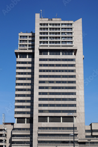 the concrete tower building Hochhaus Lister Tor in Hannover, Germany, is an exam Wallpaper Mural