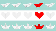 Origami Paper Plane, Boat Ship, Heart Icon Set. Gray And Red Color. Handmade Toy Line. Flat Design. Blue White Background. Isolated.