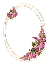 Oval Gold Frame With Pink Wate...