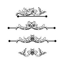 Flourish Vector Text Dividers Set. Floral Vintage Calligraphic Embellishment. Isolated Black Ornate Design Element. Decorative Scrollwork Clipart. Invitation, Greeting Card, Poster Filigree Decoration