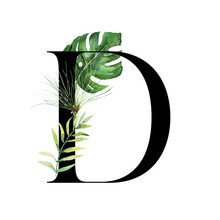 Floral Tropical Alphabet - Bla...