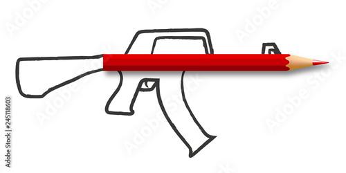Photo Concept de la liberté de la presse et de l'information avec un crayon qui forme