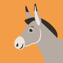Cartoon Donkey Head, Vector Il...