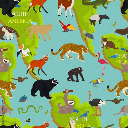 Fotografie, Obraz Seamless vector pattern on the theme of animals of South America