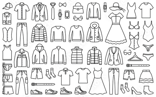 Fototapeta Woman and man clothes and accessories collection - fashion wardrobe - vector icon outline illustration obraz