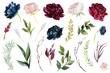 Leinwanddruck Bild - Watercolour floral illustration set. DIY flower elements collection - perfect for flower bouquets, wreaths, arrangements, wedding invitations, anniversary, birthday, postcards, greetings, cards, logo.
