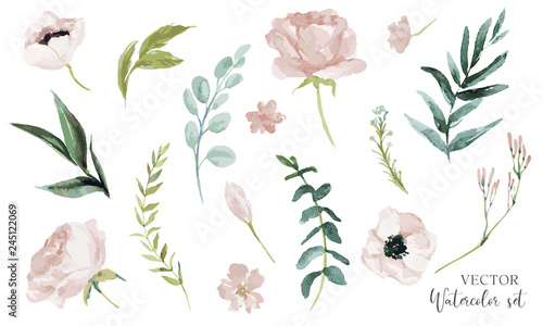 Obraz Vector watercolour floral illustration set. DIY flower elements collection - perfect for flower bouquets, wreaths, arrangements, wedding invitations, anniversary, birthday, greetings, cards, logo. - fototapety do salonu