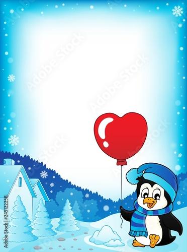 Cute Valentine penguin theme frame 1
