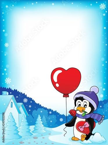 Cute Valentine penguin theme frame 2