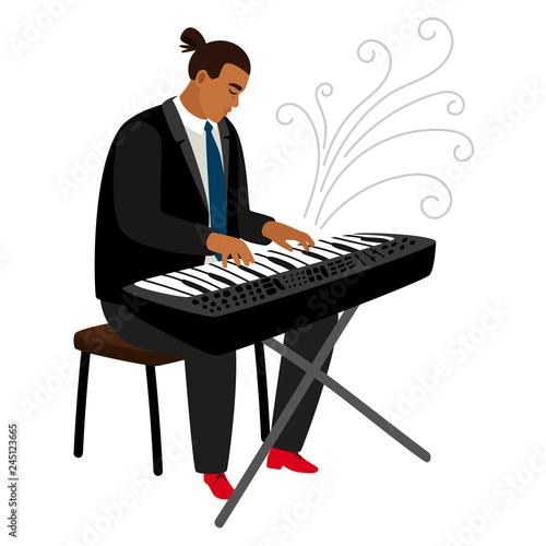 Obraz na płótnie Jazz pianist plays on synthesizer, vector cartoon character