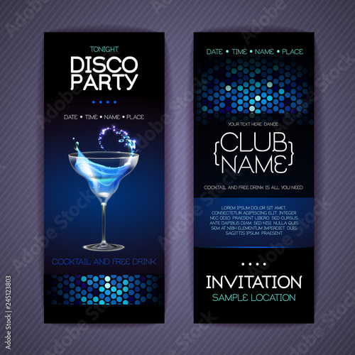 Fotomural  Disco invitation to cocktail party. Document template design