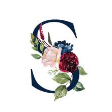 Floral Alphabet - Navy Letter ...