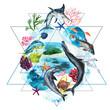 Watercolor marine geometric collage - hand-drawn marine illustrations - dolphin, whale, tuna, mahi-mahi, marlin, stingray, mahi-mahi fish, goldfish, starfish, seaweed on caribbean tropical background.