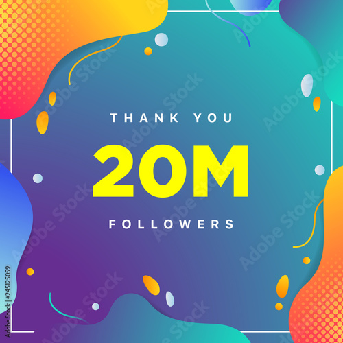 Fotografie, Obraz  20M or 20000000, followers thank you colorful geometric background number