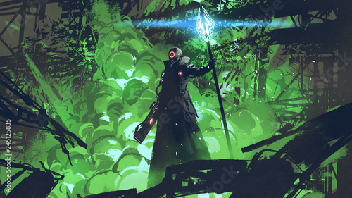 Spoed Foto op Canvas Grandfailure sci-fi character in black cloak with light spear standing against green explosion, digital art style, illustration painting