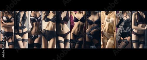 Sexy women in beautiful lingerie. Erotic underwear collage.