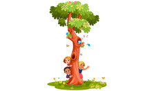 Kids Behind The Tree Vector Il...