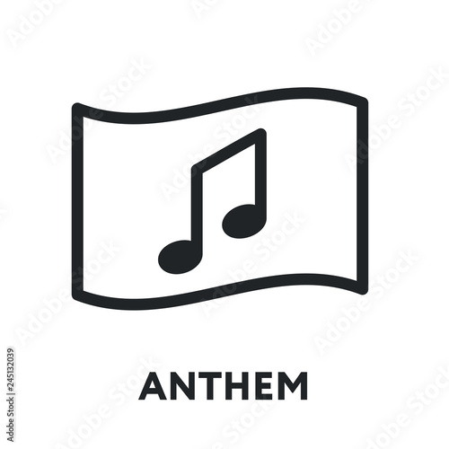 National Anthem Hymn  Song and Flag  Vector Flat Line Stroke