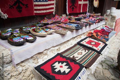 KRUJE, ALBANIA - June 2018: Traditional Ottoman market in Kruja, birth town of National Hero Skanderbeg Canvas Print